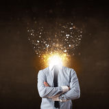 Business man with glowing exploding head Royalty Free Stock Images