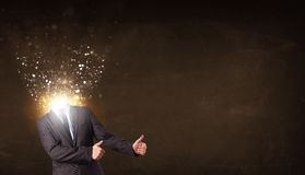 Business man with glowing exploding head Royalty Free Stock Photo