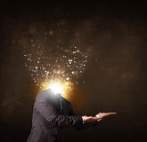 Business man with glowing exploding head Royalty Free Stock Image