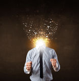 Business man with glowing exploding head Stock Photos