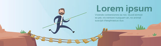 Business Man Go Dangerous Mountain Road Rope Bridge Risk Concept. Flat Vector Illustration Stock Image