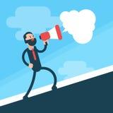 Business Man Go Up Hold Megaphone Speaker Royalty Free Stock Image