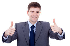 Business man going thumbs up Stock Images