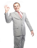Business man going thumbs up, isolated on white Royalty Free Stock Photos