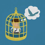 Business man in golden bird cage Royalty Free Stock Photo