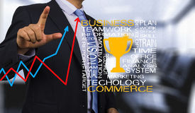 Business man with golden trophy Royalty Free Stock Photo