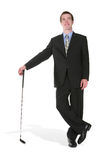 Business Man with Golf Club Royalty Free Stock Images