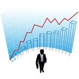 Business man graph chart curve success concept. A business man silhouette in a graph chart curve success concept Royalty Free Stock Photography