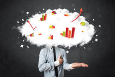 Business man with a graph cloud head. Modern business man with a graph cloud head concept royalty free stock image