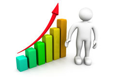 Business man with  graph. 3d illustration of Business man with  graph Royalty Free Stock Photos