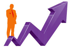 Business man and graph growth Stock Images