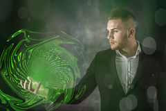 Business Man And Green Matrix Stock Images