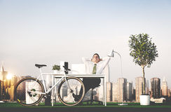 Business Man Green Office Rooftop Concept Stock Image