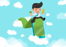 Business Man Green Road success Cloud Vector Royalty Free Stock Photography