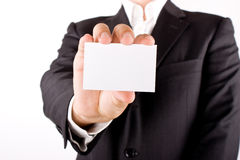 Business man with greeting card Stock Image