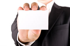 Business man with greeting card Stock Photography
