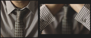 Business man in grey shirt with tie Royalty Free Stock Image