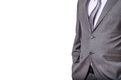 Business man in grey suit isolated on white Stock Photo