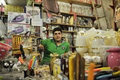 Business man of grocery store in bazza. Photoed in bazza of Shiraz city in Iran stock photo