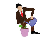 Business man growing money. Illustration of a business man growing money Royalty Free Stock Photo