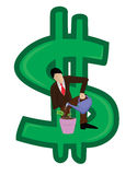 Business man growing money. Illustration of a business man growing money Stock Photos
