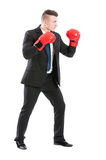 Business man on guard protecting company Royalty Free Stock Photos