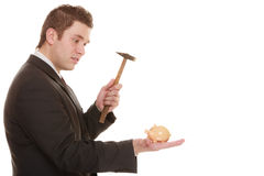 Business man with hammer about to smash piggy bank. Money saving concept. business man guy with hammer about to smash piggy bank isolated on white Royalty Free Stock Image
