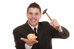 Business man with hammer about to smash piggy bank Royalty Free Stock Images