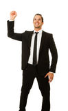 Business man with hand in air Royalty Free Stock Image