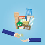 Business man hand buy and sell group of real estate Stock Photography