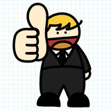 Business man hand draw cartoon. Royalty Free Stock Photo
