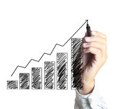 Business man hand drawing  graph Royalty Free Stock Photos