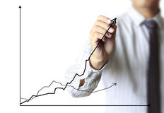 Business man hand drawing graph Royalty Free Stock Photo