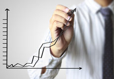 Business man hand drawing  graph Royalty Free Stock Image