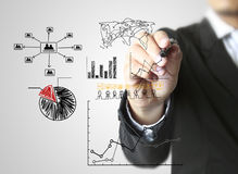 Business man hand drawing  graph Stock Photos