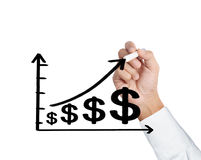 Business man hand drawing a graph Stock Photo