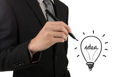 Business man hand drawing light bulb Stock Photography