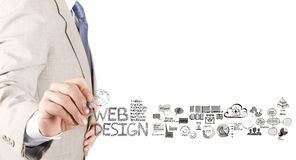 Business man hand  drawing web design diagram Royalty Free Stock Photos