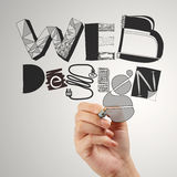 Business man hand drawing web design Stock Photos
