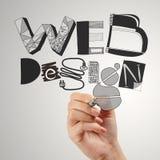 Business man hand drawing web design Stock Photos
