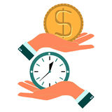 Business man hand exchanging time and money Stock Photo