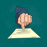 Business Man Hand Finger Point Paper Document Contract Agreement Over Triangle Geometric Background Stock Photo