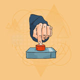 Business Man Hand Finger Press Red Button Over Triangle Geometric Background Royalty Free Stock Photography
