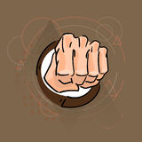 Business Man Hand In Fist Over Triangle Geometric Background Stock Photo