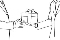 Business Man Hand Giving Gift Box Success And Award Concept Stock Images