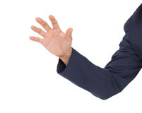 Business man hand grab isolated on white background. Business man hand grab on white background Royalty Free Stock Photography
