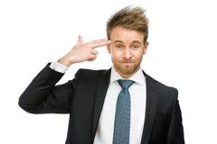 Business man hand gun gesturing Royalty Free Stock Image