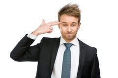 Business man hand gun gesturing royalty free stock image