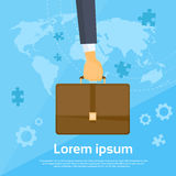 Business Man Hand Hold Briefcase Flat Vector Royalty Free Stock Photos