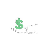 Business Man Hand Hold Dollar Sign Money Growth Concept Finance Success. Vector Illustration Royalty Free Stock Photo